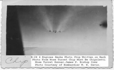 B-24 4 Engines Smoke Photo Chip on Back
