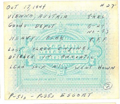 1944-10-17 Mission 27 - Vienna Austria Goods Depot Shot Down